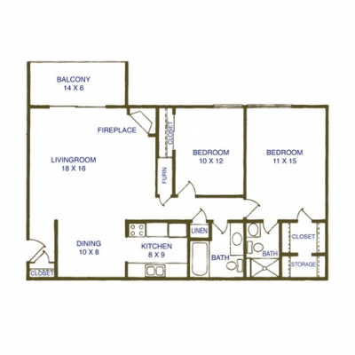 2 Bedroom - 2 Bath: 1,006 sq. ft. Monthly Rent: Garden Level: $765 per month - Balcony: $869 per month